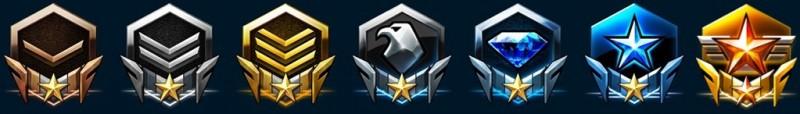 StarCraft II Leagues: Bronze, Silver, Gold, Platinum, Diamond, Master and Grandmaster.