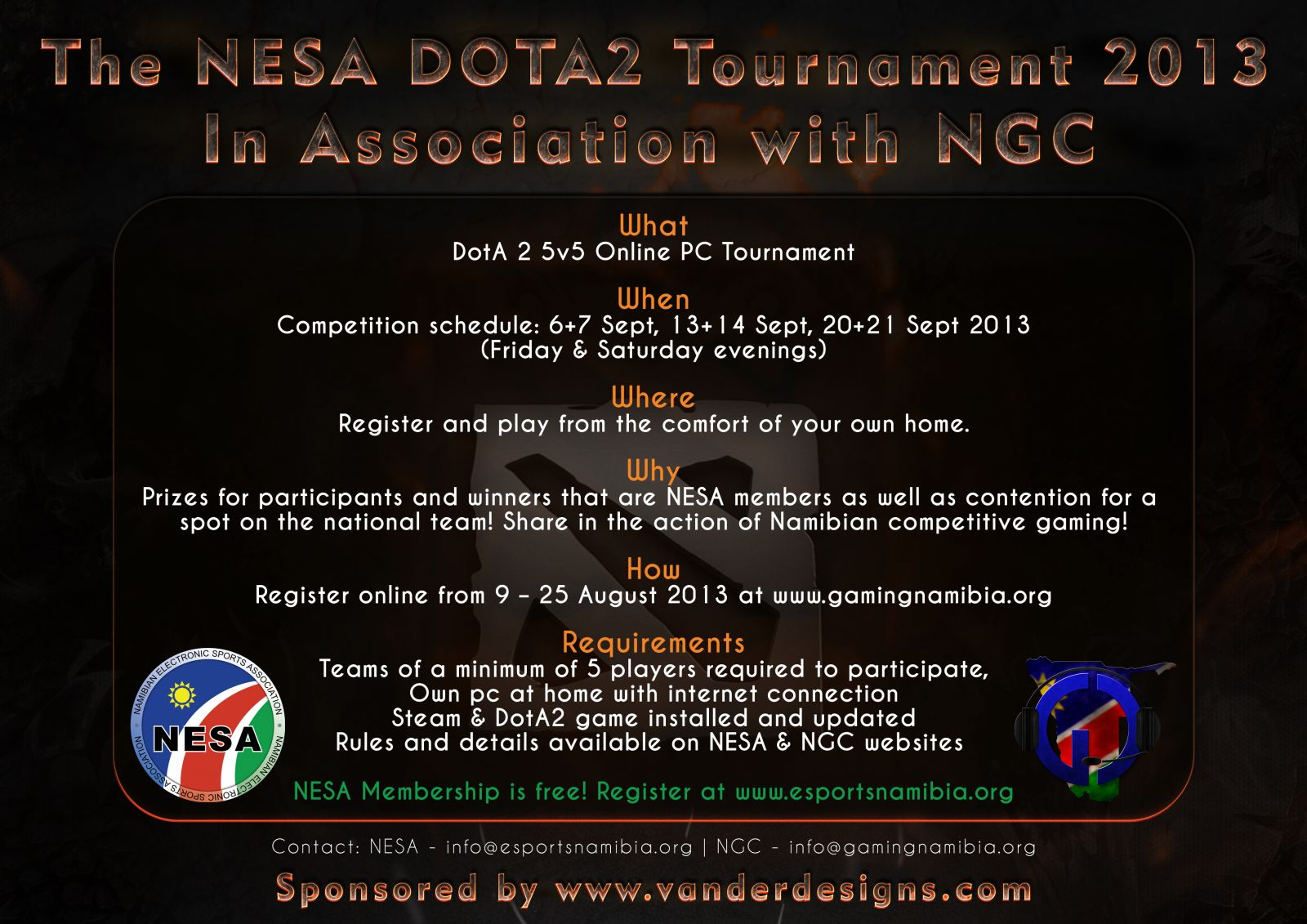 the nesa dota2 tournament advert 1 hwc handle with care clan