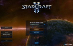 StarCraft II Login Screen with Region Selection