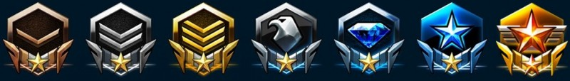 StarCraft II Leagues: Bronze, Silver, Gold, Platinum, Diamond, Master and Grandmaster.